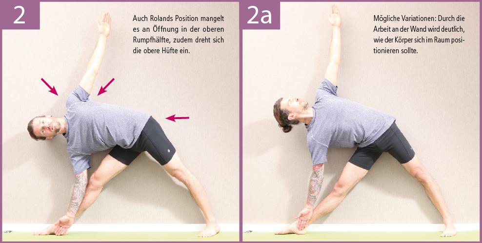 2) Rolands Position ist bereits weiter fortgeschritten, dennoch bedarf es noch an Feinschliff, die Ausrichtung der Hüften und die Öffnung von Brust und Schultern betreffend