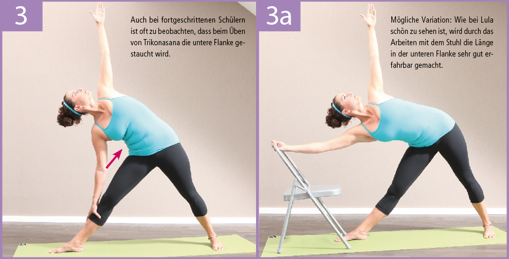 3) In Trikonasana kann der Stuhl sehr hilfreich zur Streckung der unteren Flanke sein