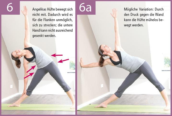 6) Durch den Druck gegen eine Wand wird die Hüfte beweglicher, der Rumpf kann geöffnet und die Flanken können besser gestreckt werden