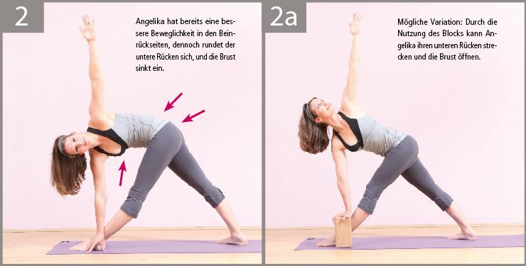 2) In Angelikas Fall sind die Beinrückseiten schon gedehnter, dennoch scheint der Boden noch zu weit weg zu sein, um eine Drehung in der Brustwirbelsäule und eine Streckung des Rückens zu ermöglichen.