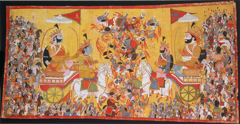 Arjuna und Krishna, auf der linken Seite, stehen der feindlichen Armee auf dem Schlachtfeld gegenüber. © Wikimedia Commons