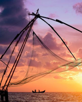 Fischernetze in Indien, Kochi